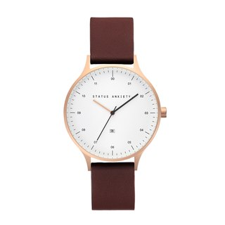 INERTIA Leather Watch_Gold White-Brown / Rose Gold White - Brown Strap