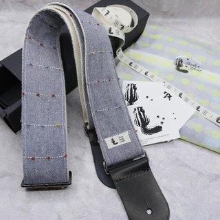Handmade Guitar Strap - Denim Dot