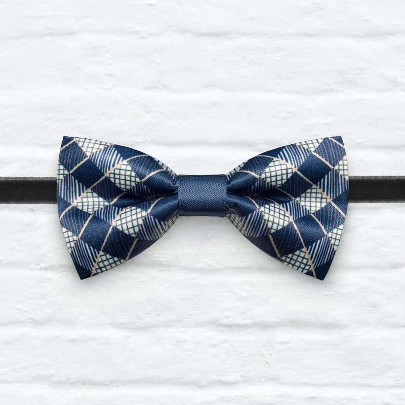 Style 0349 Stripe Plaids Mix pattern Bowtie - Navy & White Wedding Bowtie, Gift for Him, Toddler Bow tie, Groomsmen bow tie, Pre Tied and Adjustable Novioshk