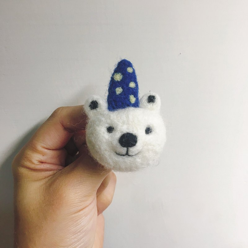 Wool felt handmade polar bear pin