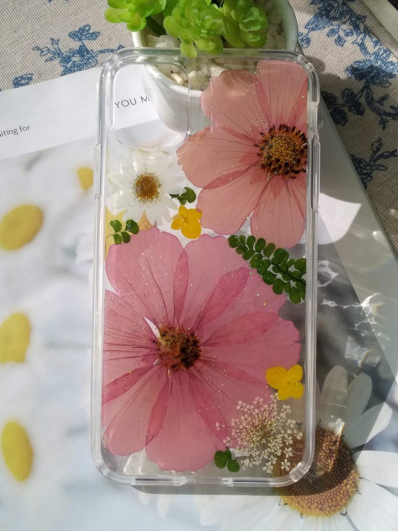 Handmade phone case, Pressed flowers phone case, Purple