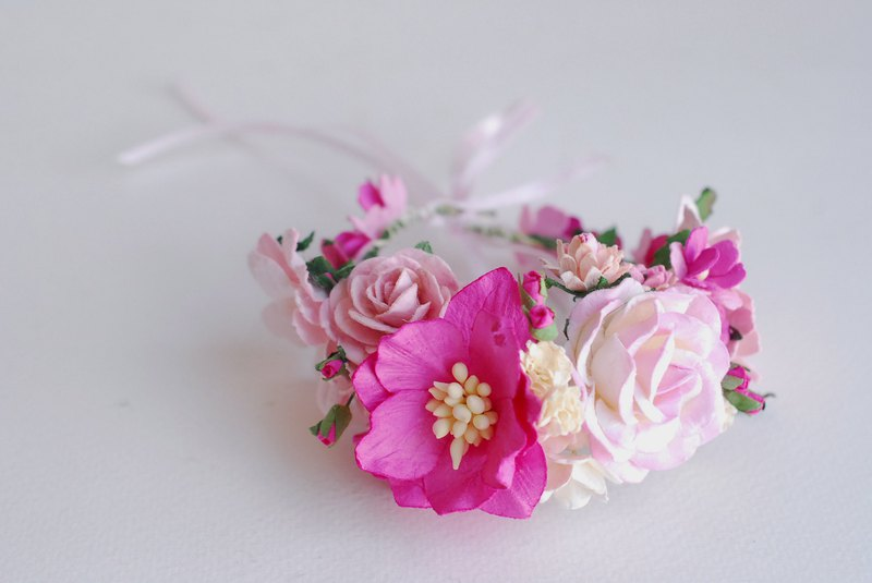 Paper Flower, corsage, Wedding bridesmaids, pink, magenta tone colors, handmade