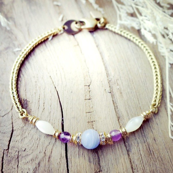 VIIART. The twelfth house - the virgin. Amethyst Blue Agate Shell Beads Brass Bracelet