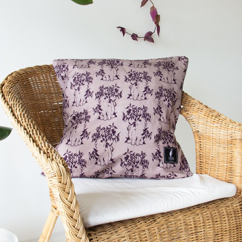 "Federi Canvas Cushion Cover ""Rabbit and leaves"" Purple"