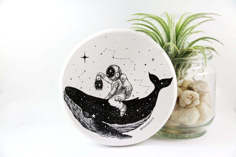 Space, whale, astronaut, galaxy, Diatomaceous earth Coaster