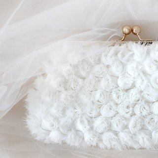 Handmade Clutch Bag in White Bridal | Gift for Bridal, Bridesmaids, Mom, Holiday Gift | Rosebuds Floral