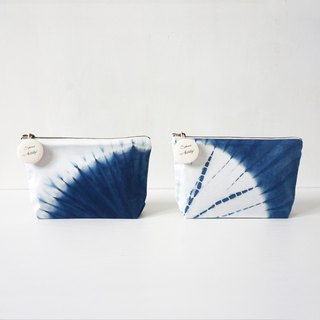 S.A x Cell/ Daisy, Indigo dyed Handmade Dot Pattern Cosmetic Case