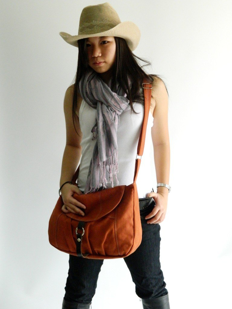 Messenger Diaper bag,cross body Tote Purse- Claire in Orange pumpkin (no.103)