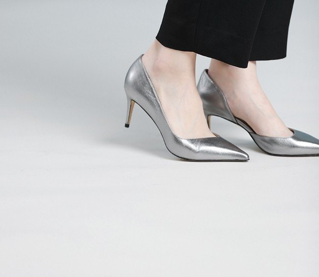 [Show products clear] streamline side digging leather thin low heel shoes silver copper