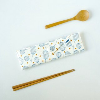 / Lantern Flower - White / / Cutlery Bag / Brush Set / Stationery Pencil Case