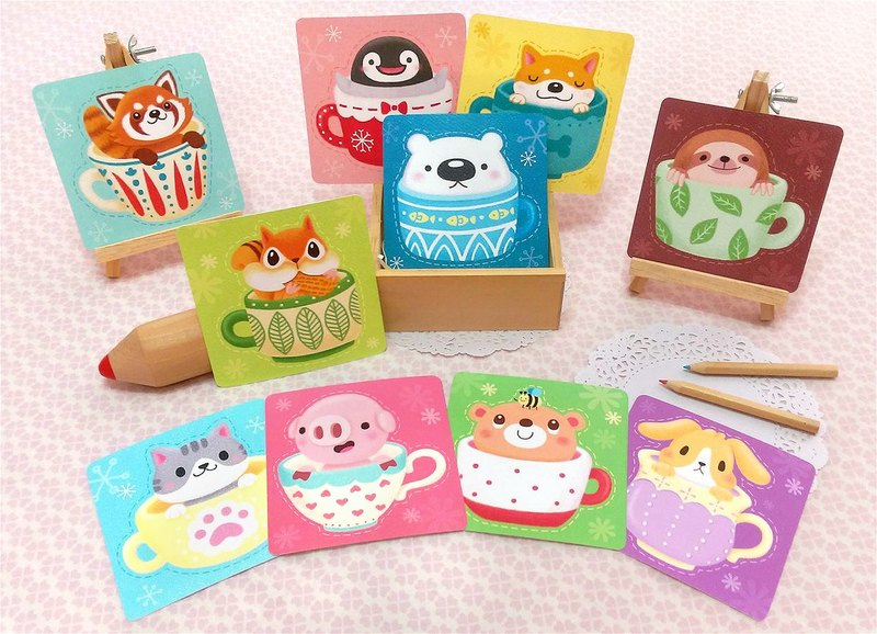 Cup animal series. Universal Small Card (10 Pieces)