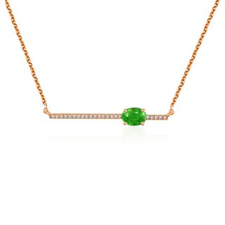 Line Diamond Necklace with Emerald