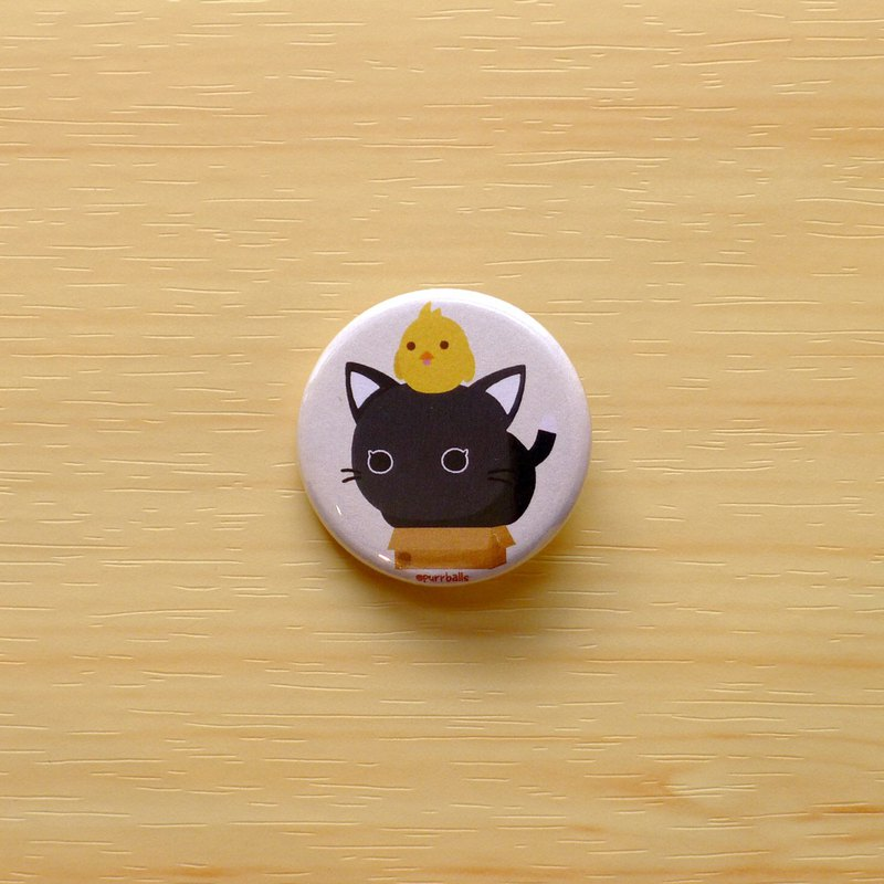 Purrballs Cat Button Badges - Kumo & Box