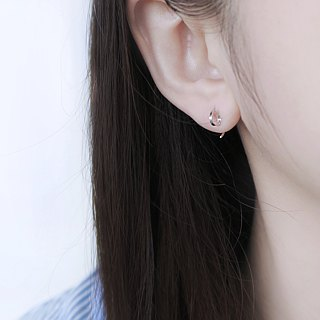 925 sterling silver mini circle comma C-ear earrings pair