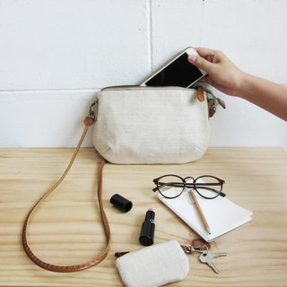 Crossbody Bags mini Curve Hand woven and Botanical Dyed Cotton Natural Color
