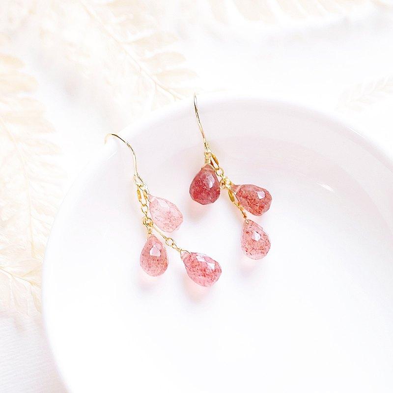 甜蜜軟糖草莓晶 多硬拋切面亮澤水滴燈耳環 14K   透亮可改耳夾
