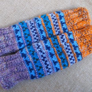 【Grooving the beats】Wool Canadian Colorful Legwarmers(Orange+Blue+Purple)