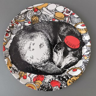 CAKE GUARD WOLF limited edition hand-painted tray | Jimbobart