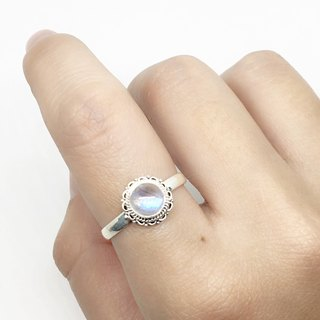 Moonstone 925 Sterling Silver Lace Ring Handmade in Nepal (Style 3)