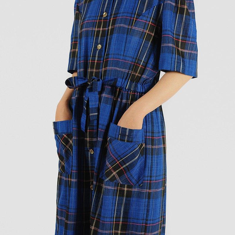 【蛋植物古着】藍格物語印花短袖古著洋裝