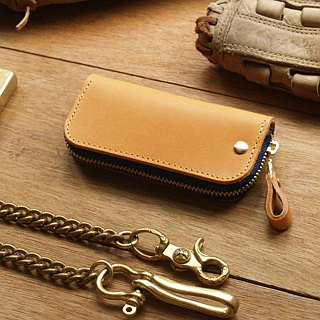 Leather Key Case ( Custom Name ) - Classic Tan