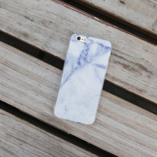 Original snow and ice blue marble iPhone Samsung mobile phone case hard shell transparent soft side