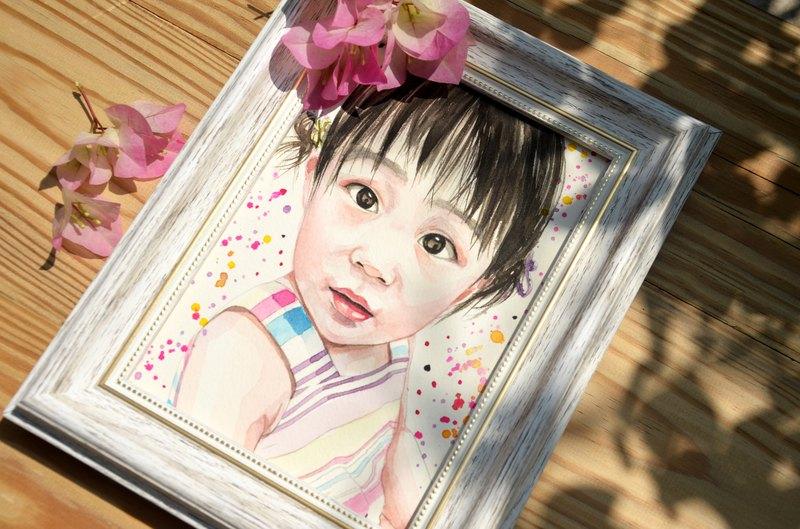 虎斑羊-手繪寶寶人像客製畫/人像畫/水彩/明信片尺寸