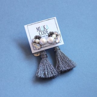 Hand-beaded cotton pearls with grey tassels earrings/ear-clips