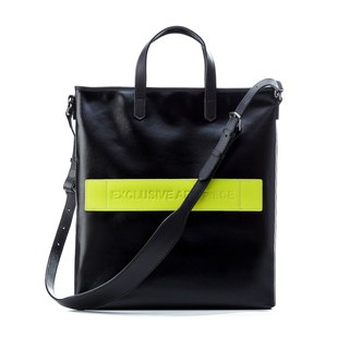 Black waterproof EAP Tote bag - fluorescent yellow cowhide
