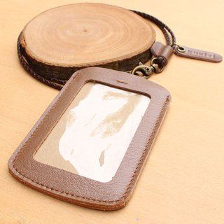 ID case / Key card case / Card case / Card holder - ID 1 -- Tan + Dark Brown Lanyard (Genuine Cow Leather)