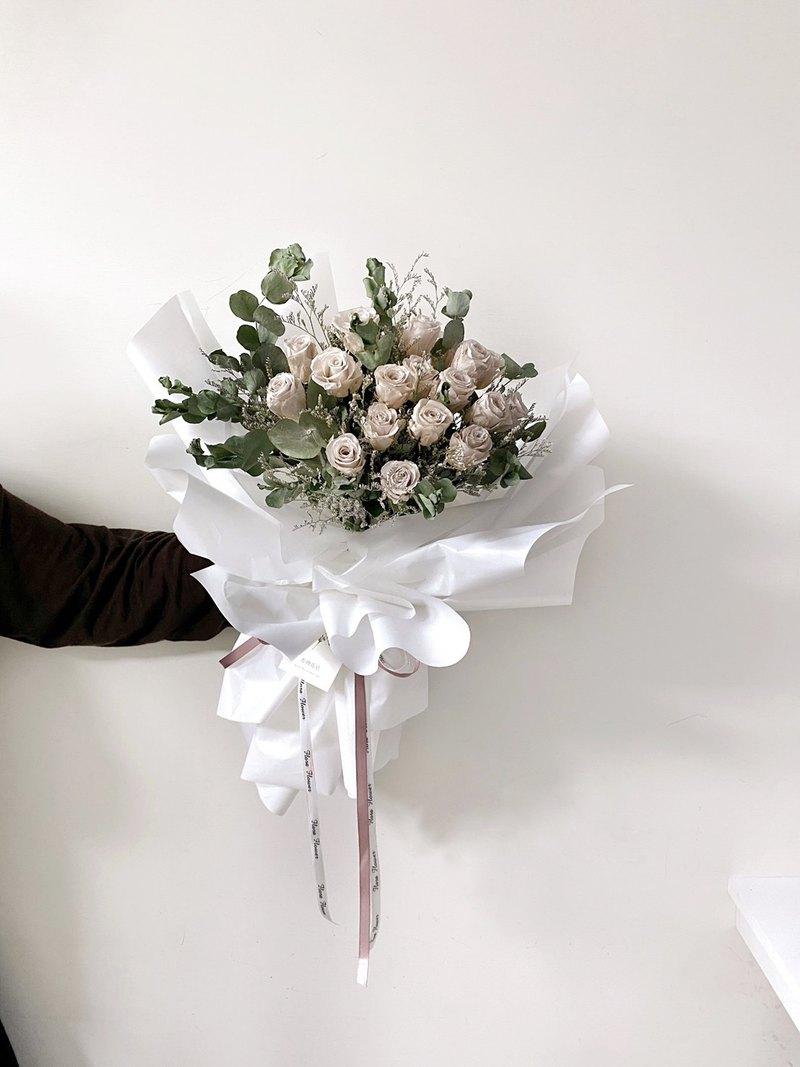 情人節玫瑰花束-奶茶色(大花束) 永生花 玫瑰
