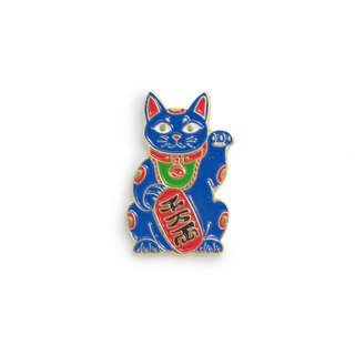 Maneki Cat Blue Pin