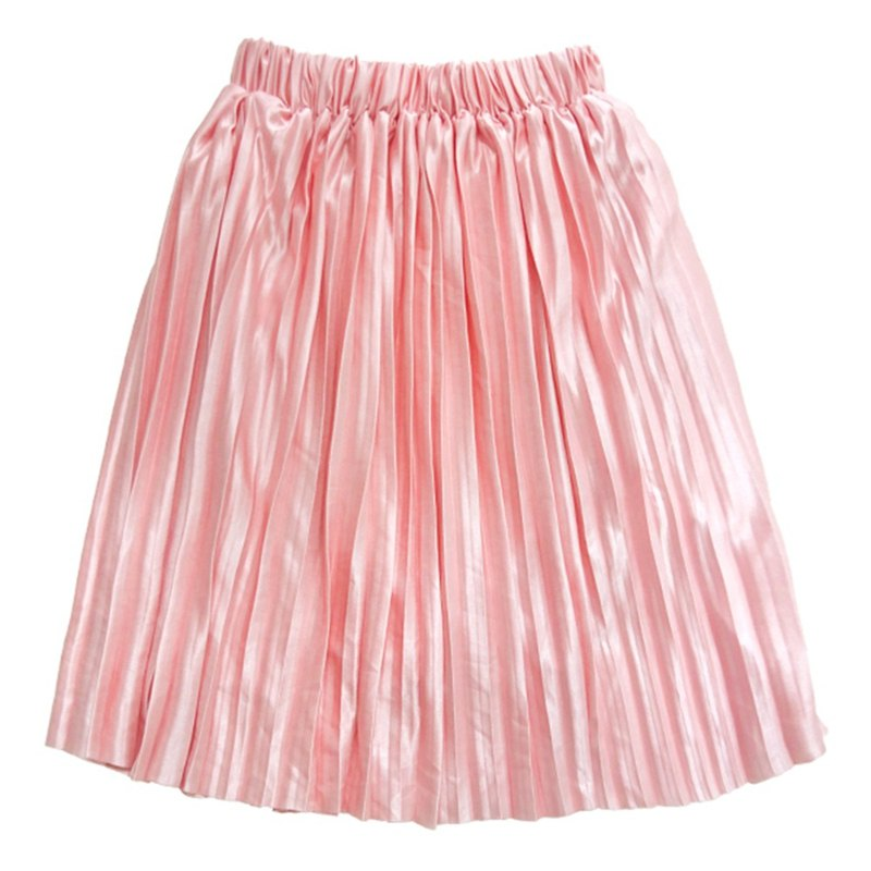 Cutie Bella 光澤感緞面百褶鬆緊中長裙 珊瑚粉 Coral