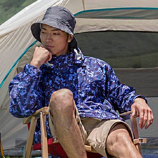 [MORR]Fisherman dual-use storage hat for sun and rain [flower yarn black]