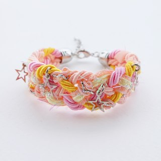 Pink/yellow/peach braided bracelet with silver stars