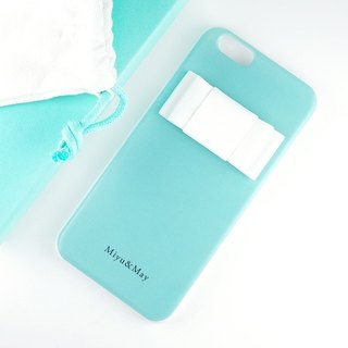 Name can be inserted ★ Blue Green Smaho Case with Ribbon