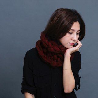 【MOUNTAIN HAND MADE】100% wool circular scarf /Burgundy