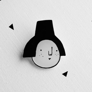 Miss Hairy Collection / Black and White Brooch/ H012