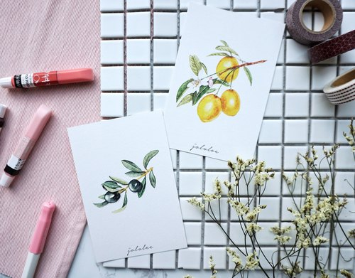 [Greeny Collection] Olive & Lemon Branches Postcard set (2 pcs in 1 set)