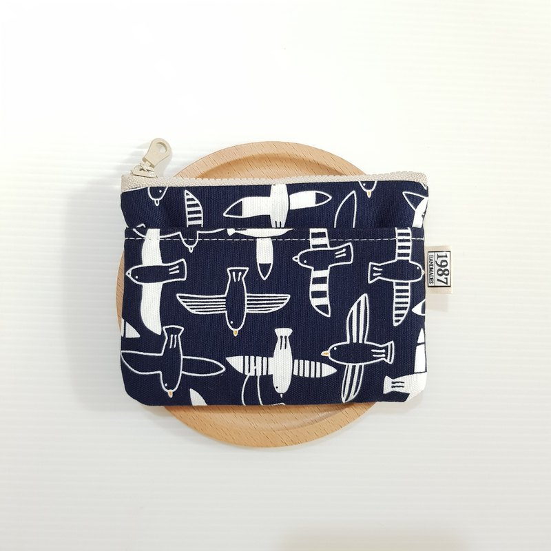[Flying Bird - Blue] Coin Purse Clutch Carrying Zipper Bag Christmas Exchange Gift