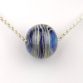 River Ball Handmade Lampwork Glass Sterling Silver Necklace