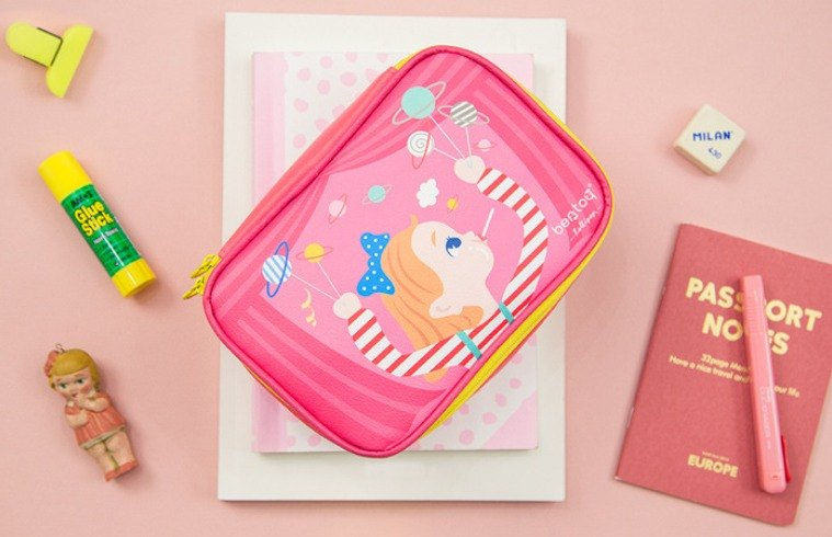 Bentoy x Lollipop - Large capacity cosmetic bag / Storage bag / Universal bag (pink)