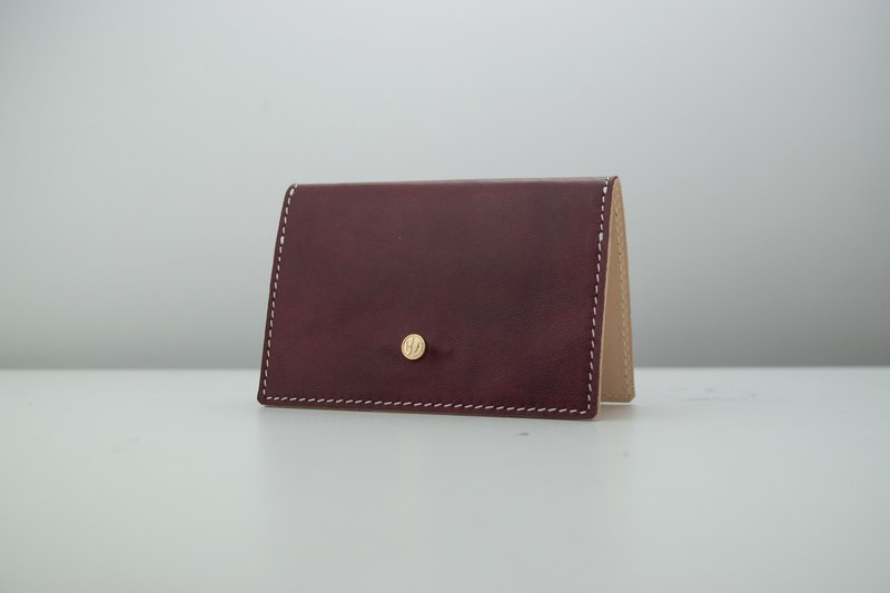 Rossen Rosenge as a business card holder micro 醺 wine red Italian leather custom stamping