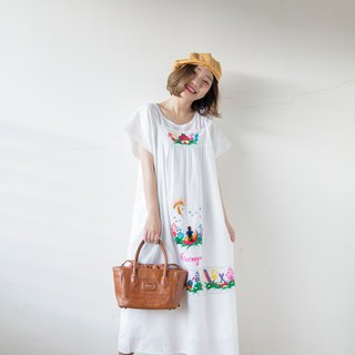 Banana cat. Banana Cats White Patchwork Embroidered Square Long Hair Fluffy Mexican Embroidered Dress