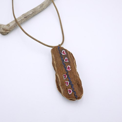 Upcycling Necklace, Natural, Wood piece, Free hand drawing, Zen drawing, Eco - blue, pink