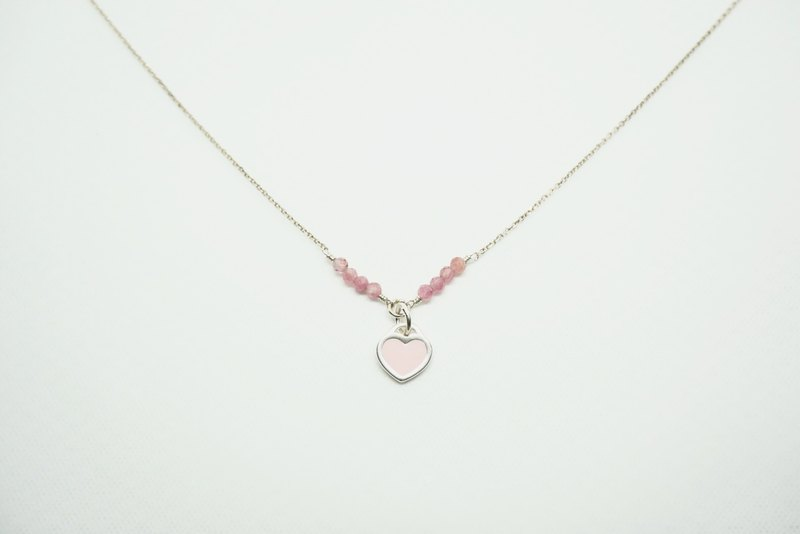 Pink peach heart tourmaline sterling silver necklace natural stone crystal