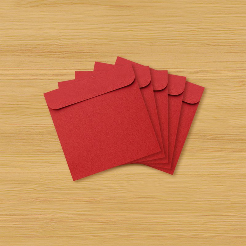 Handmade red bag _ blank square version-plain flat (set of 5)