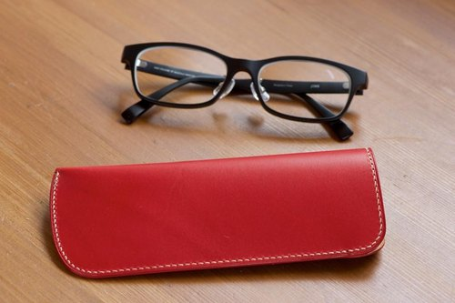 Slim red glasses case