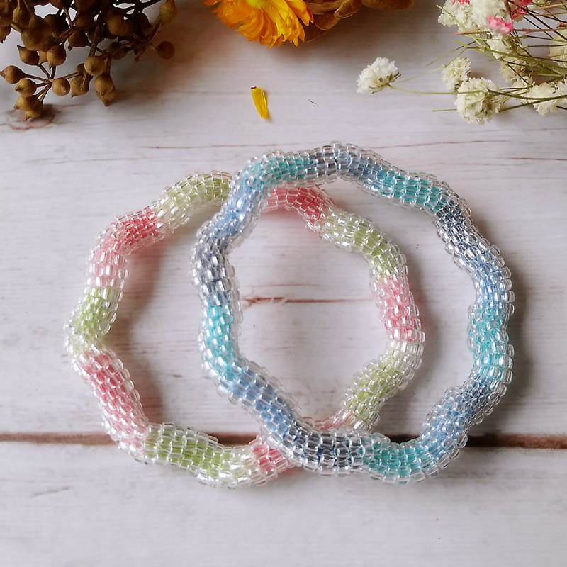 Transparent Gradient Ripple Ice Series Original Handmade Beaded Woven Bracelet Bracelet Bracelet