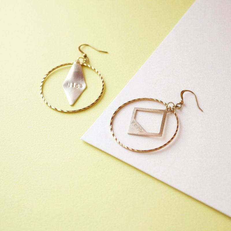 Exaggerated in diamond-shaped brass earrings (single) Customized hand knock letters Sister friends gifts